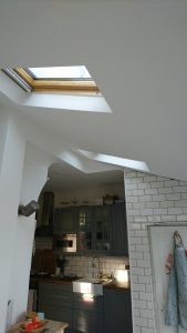 The skylights add lots of light into the room