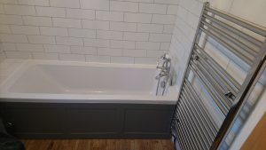 We also plumbed in a heated towel rail, strengthening the wall behind.